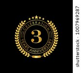 3 years golden anniversary logo ... | Shutterstock .eps vector #1007969287