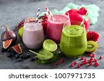 colorful smoothie  healthy... | Shutterstock . vector #1007971735
