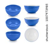 Small photo of blue bowl on white background