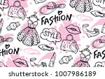 hand drawn doodle fashion... | Shutterstock .eps vector #1007986189