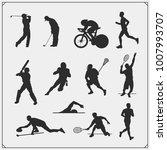 vector set of sport players... | Shutterstock .eps vector #1007993707