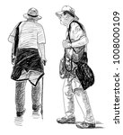 sketch of the elderly men on a... | Shutterstock . vector #1008000109