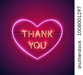thank you in the heart neon... | Shutterstock .eps vector #1008001297