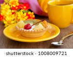 dessert with fruits and cream.... | Shutterstock . vector #1008009721