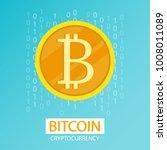 golden coin binary bitcoin... | Shutterstock .eps vector #1008011089