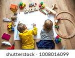 preschool boy and girl play on... | Shutterstock . vector #1008016099