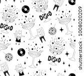 tipsy cat girl dancing disco in ... | Shutterstock .eps vector #1008020209