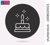 cake   outline icon. editable...   Shutterstock .eps vector #1008025021