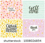 Stock vector set of cards seamless patterns at the background 1008026854