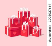 red gift boxes with ribbon  bow ... | Shutterstock .eps vector #1008027664