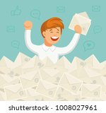 happy businessman receive mail. ... | Shutterstock .eps vector #1008027961