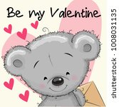valentine card with cute... | Shutterstock .eps vector #1008031135
