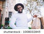 cheerful african american guy... | Shutterstock . vector #1008032845