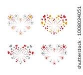 beautiful heart fireworks set.... | Shutterstock .eps vector #1008034051