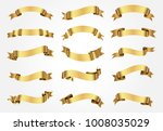 golden ribbons set.vector... | Shutterstock .eps vector #1008035029