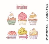 hand drawn cupcakes with... | Shutterstock .eps vector #1008035431