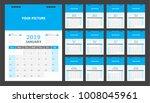 calendar for 2019 blue... | Shutterstock .eps vector #1008045961