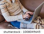 woman freelancer working on her ...   Shutterstock . vector #1008049645