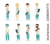 isolated doctors set on white... | Shutterstock . vector #1008054775