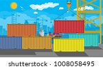 river ocean and sea freight... | Shutterstock .eps vector #1008058495