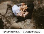 a girl in a black dress and a...   Shutterstock . vector #1008059539