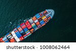 aerial top view container cargo ... | Shutterstock . vector #1008062464
