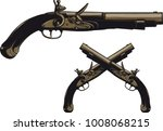 ancient pistol with a flintlock ...   Shutterstock . vector #1008068215
