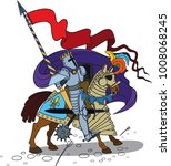 brave horse knight with a spear ...   Shutterstock . vector #1008068245
