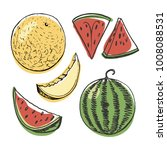 watermelon and melon in whole... | Shutterstock .eps vector #1008088531