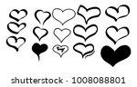 hand drawn hearts. design... | Shutterstock .eps vector #1008088801