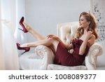 fashion young beautiful woman... | Shutterstock . vector #1008089377