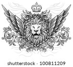 lion on shield winged insignia | Shutterstock .eps vector #100811209