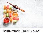 assorted sushi set on white... | Shutterstock . vector #1008125665