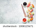 assorted sushi set on white... | Shutterstock . vector #1008125671