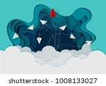 paper planes are competing to... | Shutterstock .eps vector #1008133027