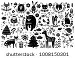 vector set of cute animals  fox ... | Shutterstock .eps vector #1008150301