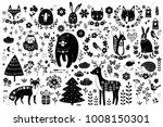 vector set of cute animals  fox ... | Shutterstock .eps vector #1008150301