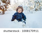 happy kid  infant  sits smiling ... | Shutterstock . vector #1008170911
