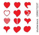 heart icon set  vector hearts... | Shutterstock .eps vector #1008172237