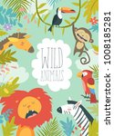 happy jungle animals creating a ... | Shutterstock .eps vector #1008185281