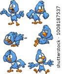 blue cartoon bird. vector clip...