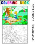 picnic in nature coloring book... | Shutterstock .eps vector #1008191137