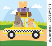 cute animal cartoon riding a... | Shutterstock .eps vector #1008194341