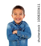 funny small child with denim t... | Shutterstock . vector #1008203611