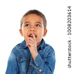 pensive small child with denim... | Shutterstock . vector #1008203614