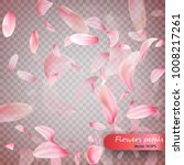 pink sakura falling petals...   Shutterstock .eps vector #1008217261
