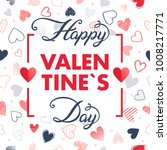 happy valentines day   hand... | Shutterstock .eps vector #1008217771