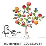 cartoon gardener watering multi ...   Shutterstock . vector #1008219169