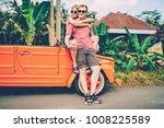 romantic couple resting making... | Shutterstock . vector #1008225589