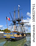 Small photo of Rochefort, France, september 2017, Hermione, a famous replica of historic frigate. She sailed to America for a symbolic voyage in memory of people solidarity.